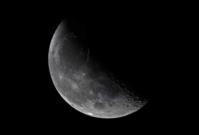"Waning Crescent Moon Mosaic on Oct 23, 2016.  17 panels, 6"" F/8 Newtonian, Aptina AR0130 planetary cam."